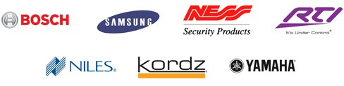 Images showing the logos Bosh, Samsung, Ness, Niles, Kordz, Yamaha who are used and recommended by Wired Installations Australia